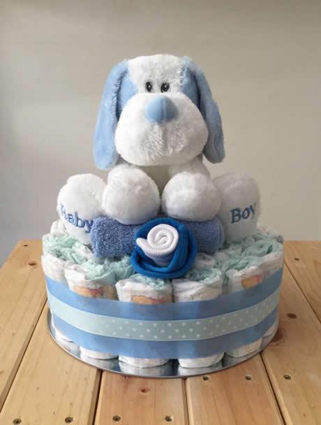 Baby Boy Puppy Nappy Cake