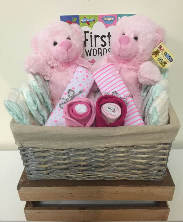 Twins Baby Girl Gift Basket