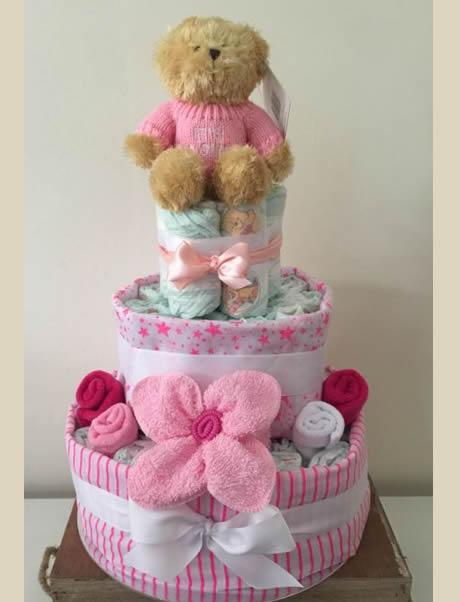 Baby Girl 3 Tier Nappy Cake