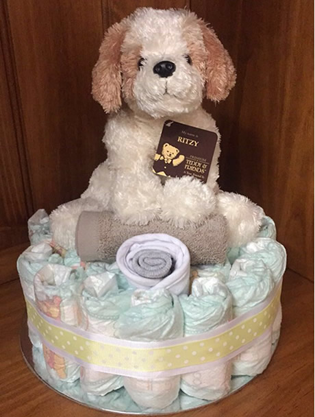 Neutral Puppy Nappy Cake