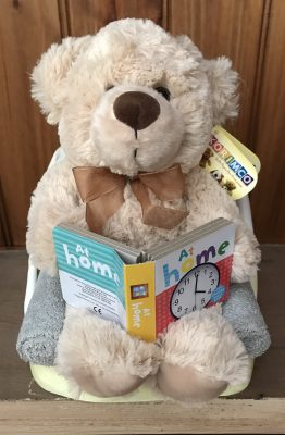 Neutral Baby Reading Teddy