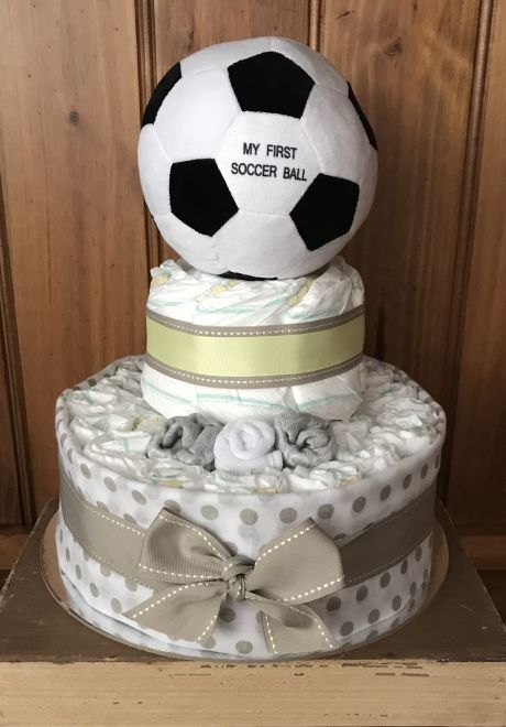 Soccer Ball Baby Nappy Cake